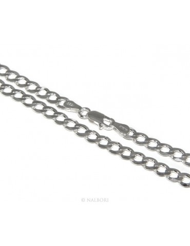 ARGENTO 925 : Girocollo collana o bracciale uomo donna grumetta diamantata 4,5mm chiara sbiancata