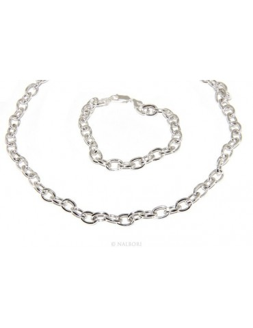 SILVER 925: Choker necklace or bracelet clear oval rings women bleached