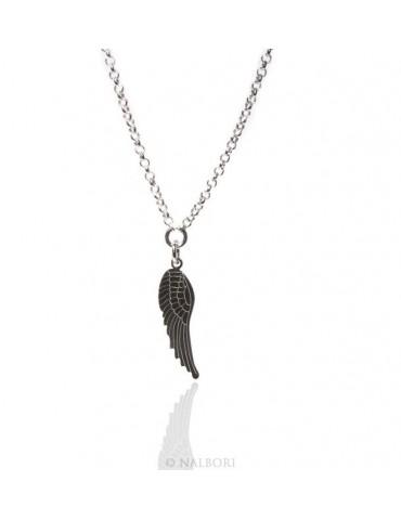 Argento 925 : Collana girocollo uomo o donna con pendente ala di angelo tagliata al laser