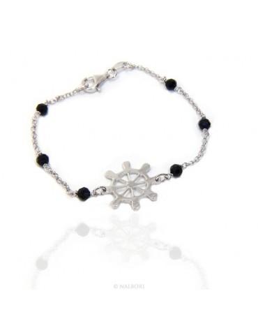 Men's bracelet boy boy Silver 925 black crystal rosary work with central helm 17,50