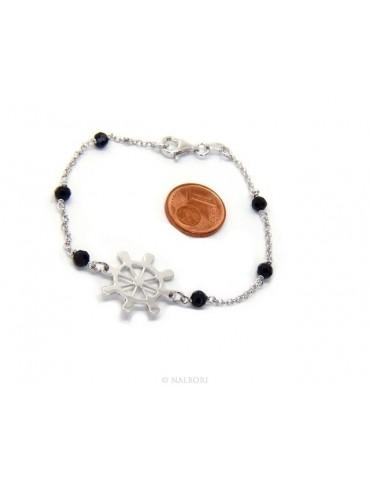 Bracciale uomo donna ragazzo Argento 925 lavorazione a rosario cristallo nero con timone centrale 17,50