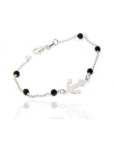 Men's bracelet boy boy Silver 925 black crystal rosary work with still central 17,50 cm