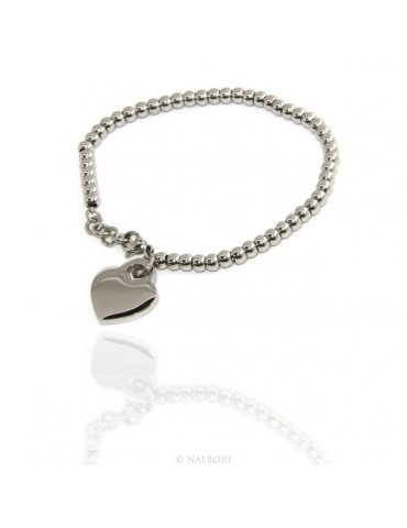Steel hypoallergenic chrome plated bracelet with smooth heart 15,00 17,00 cm