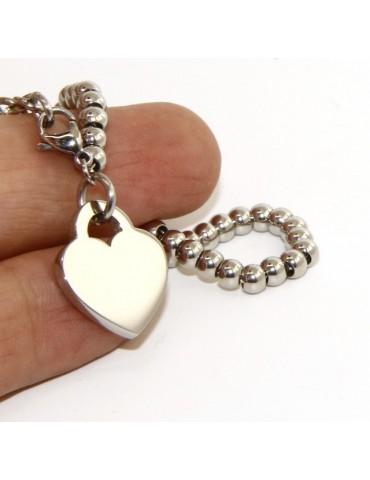 Acciaio donna anallergico cromato bracciale palline con cuore liscio 15,00 17,00 cm