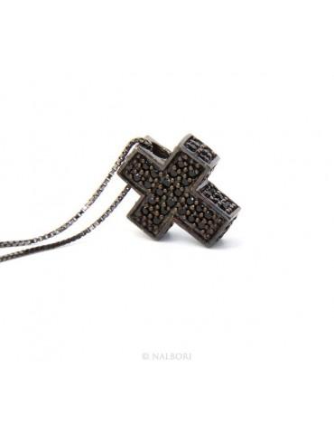 Argento 925 : Collana Collier uomo donna veneziana 45 cm e croce 3D a pavè di zirconi nero e rutenio
