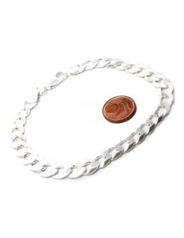 ARGENTO 925 : Collana o Bracciale uomo catena da 8 mm grumetta grumetta 8x10 chiara