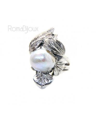 Argento 925 : Anello donna realizzato a mano con foglie e perla barocca misura 16