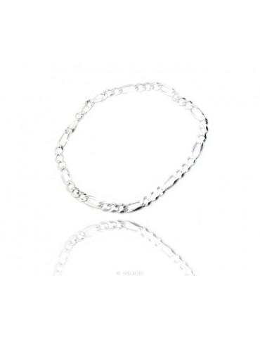 ARGENTO 925 : Collana o Bracciale uomo catena da 4,5 mm figaro massiccia 4,5 cm chiara