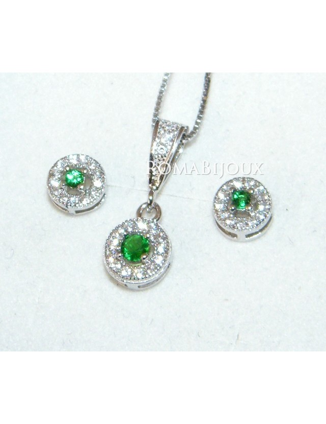 Parure argento 925 collana ciondolo orecchini donna round pave' zirconi e punto luce verde peridot