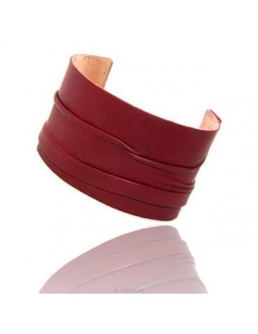 Bracciale donna schiava aperto regolabile rivestito in vera pelle rosso scuro NALBORI®