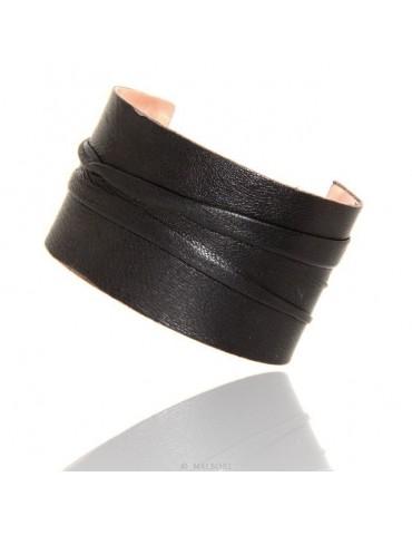 Bracciale donna schiava aperto regolabile rivestito in vera pelle nero NALBORI®