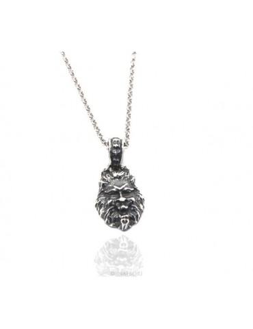 collana NALBORI Argento 925 realizzata a mano con ciondolo testa di leone brunito anticato