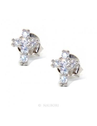 Silver 925: man / woman earrings light cross small zircon cross