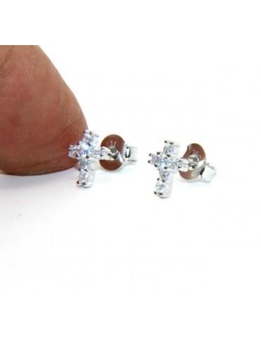 Argento 925 : orecchini uomo/donna punto luce croce piccoli zircone bianco