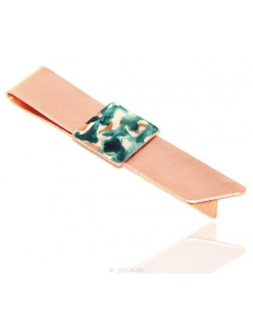 Money Clip stops NALBORI ® made of hypoallergenic copper for man with black & cream enamel