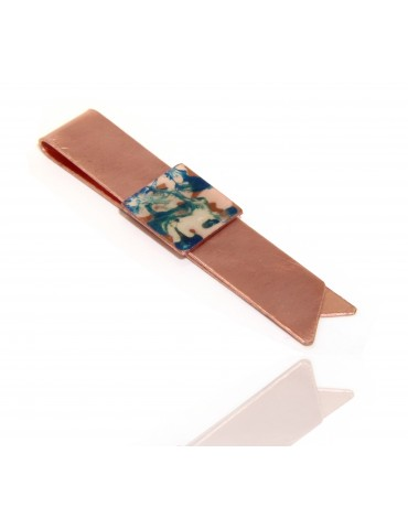 Money Clip stops NALBORI ® made of hypoallergenic copper for man with blue & cream enamel