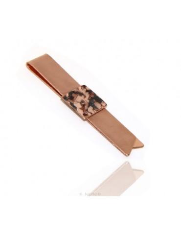 Fermasoldi NALBORI ® ferma soldi clip da tasca uomo in rame anallergico con smalto marrone panna