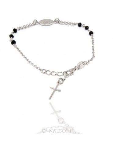 Bracciale rosario uomo donna in Argento 925 ovale madonna , croce e cristallo nero 16,00 18,50 cm