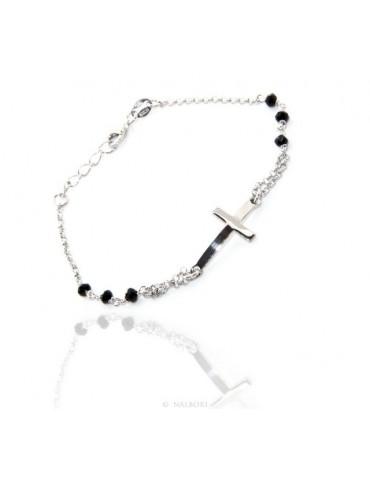 Bracciale rosario uomo donna in Argento 925 croce convessa e cristallo nero. Misura 16,50 - 19,00