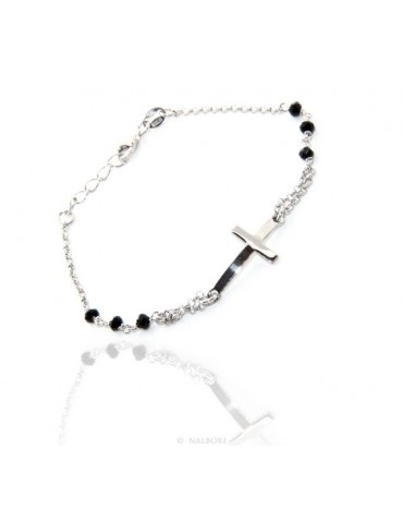 Rosary bracelet male female 925 convex cross and black crystal. Measure 16.50 - 19.00