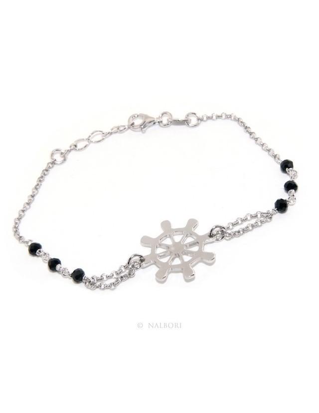Bracciale uomo donna ragazzo Argento 925 lavorazione a rosario cristallo nero con timone centrale 16,50 - 18,50