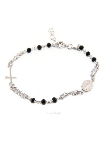 925 Silver Woman Woman Rosary Bracelet with Miraculous Madonna, Cross and Black Crystal 17.50 - 20.00