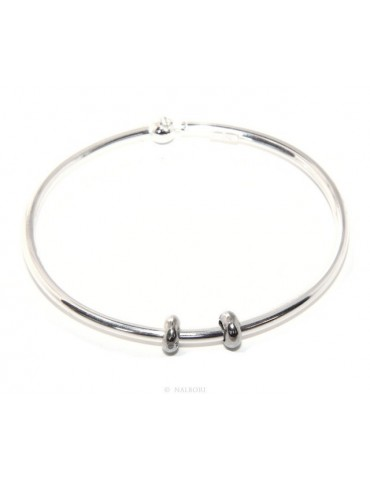 SILVER 925: woman bracelet for patented CHARMs BEADS closing pendants oval midsize