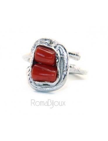 Argento 925 : Anello donna regolabile realizzato a mano barilotti corallo rosso intenso naturale