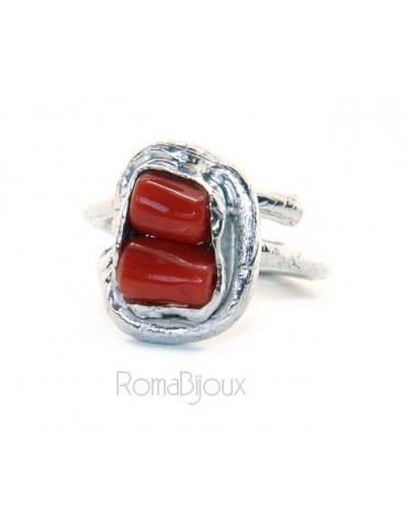Silver 925: Women's adjustable hand ring made of natural intense red coral barrels