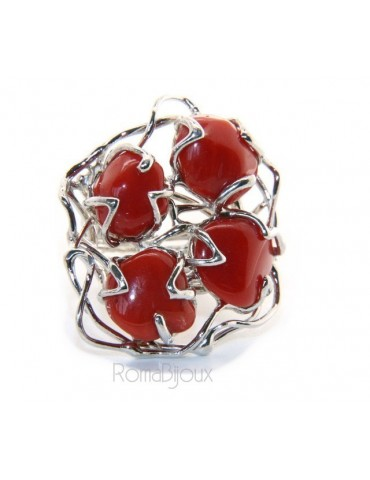 925 Silver: Ladies' adjustable hand ring 4 natural intense red coral gems
