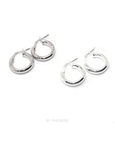orecchini donna Argento 925 anelle cerchi boccole lisce classiche 15,5 mm 2 colori