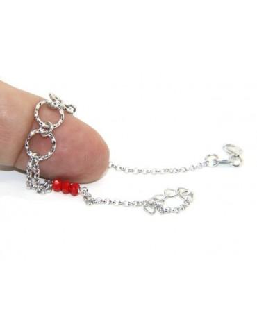 Bracciale uomo donna ragazzo Argento 925 lavorazione a rosario cristallo rosso con cerchi diamantati 16,50-19,50 cm