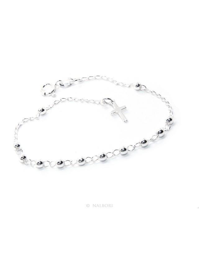 Bracciale uomo donna ragazzo Argento 925 rosario palline 3 mm semplice croce latina cm 17,00