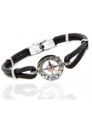 Stainless steel bracelet and skin leather hypoallergenic  zodiac zodiacal 19 cm