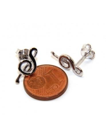 Orecchini donna o uomo argento 925 con chiave di SOL violino speculari