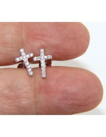 Argento 925 : orecchini uomo/donna punto luce croce pavè zircone bianco 11x7,5 mm