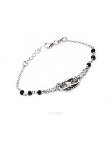 Bracciale uomo donna ragazzo Argento 925 lavorazione a rosario cristallo nero con maglia marina bombata 15,00-18,00 cm