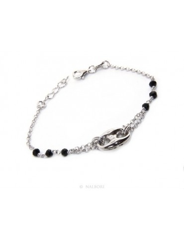 Men's bracelet boy boy Silver 925 black crystal rosary work with navy blue knit 15,00-18,00 cm