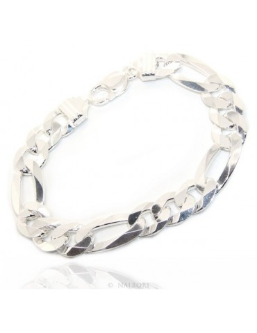 SILVER 925: Men's 11mm long bracelet long 22cm solid heavy ribbon