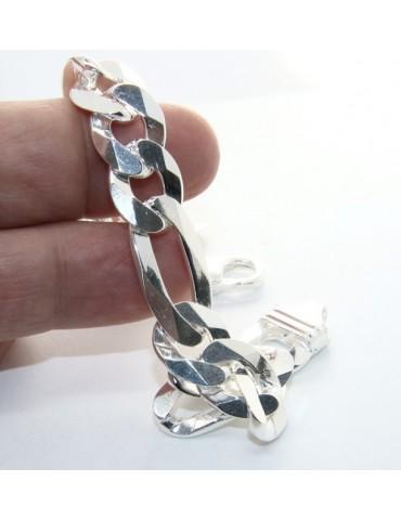 ARGENTO 925 : Bracciale uomo catena da 11 mm figaro massiccio lungo 22 cm pieno pesante