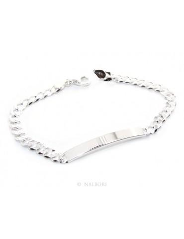 NALBORI Bracciale targa uomo donna argento 925 chiaro, massiccio catena grumetta 6 mm polso 19,50-20,50