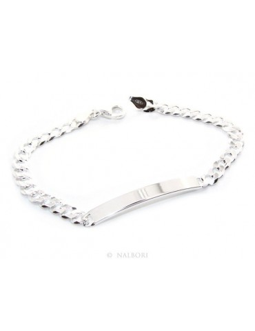 NALBORI Men's or women's silver bracelet in 925 silver, solid chain 6mm  wrist 19,50-20,50