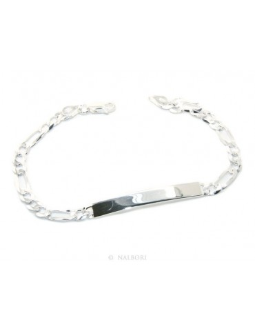 NALBORI Men's or women's silver bracelet in 925 silver, solid chain figaro 5 mm  wrist 20,50 cm