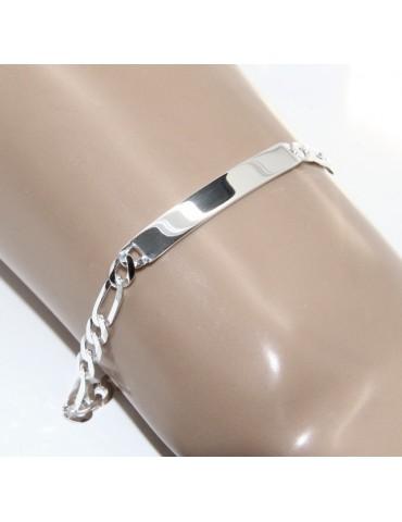 NALBORI Bracciale targa uomo donna argento 925 chiaro, massiccio catena figaro 5 mm polso 20,50