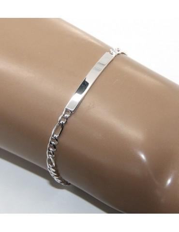 NALBORI Bracciale targa uomo donna argento 925 chiaro, massiccio catena figaro 4 mm polso 18 cm