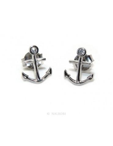 orecchini da uomo o donna in argento 925 a forma di ancora con zircone bianco taglio brillante incastonato a cipollino