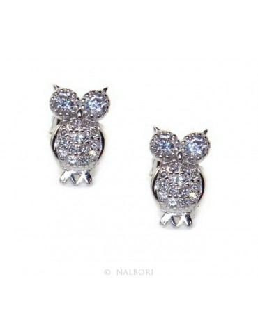 Women's 925 silver owl-shaped owl earrings with white zircons pave