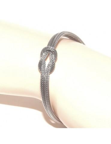 Argento 925 : bracciale fox tail cavetto doppio con nodo piano per uomo e donna da 15 a 21 cm