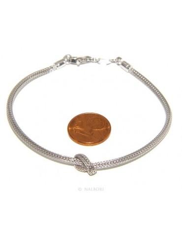 Argento 925 : bracciale fox tail cavetto con nodo semplice per uomo e donna da 15 a 20 cm