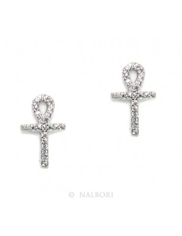 Earrings for women Egyptian key cross of life in 925 silver with white cubic zirconia stones